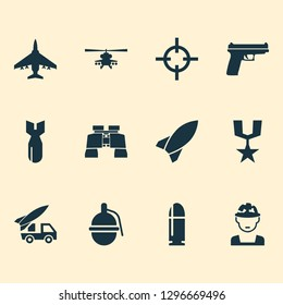 Warfare icons set with bomb, artillery, rocket and other weapons elements. Isolated  illustration warfare icons.