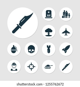 Warfare icons set with soldier, knife, sniper and other aircraft elements. Isolated  illustration warfare icons.