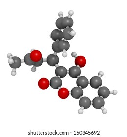 Warfarin anticoagulant drug, chemical structure. Used in thrombosis and thromboembolism prevention. Atoms are represented as spheres with conventional color coding: hydrogen (white), etc