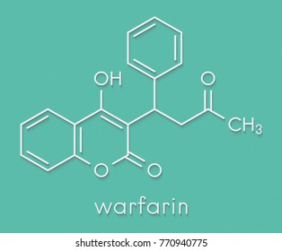 Warfarin anticoagulant drug molecule. Used in thrombosis and thromboembolism prevention. Skeletal formula.