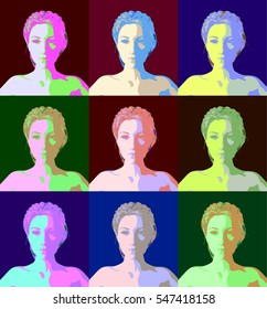 Warhol Style Female. A set of six variations of a beautiful woman - Warhol style 3d render.