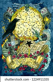 Warlock magic book, crow, grave, cross and evil hand against full moon with constellations. Latin text Carpe Diem means Seize the Day. Occult and esoteric colorful illustration