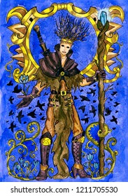 Warlock with magic wand and crows. Hand drawn graphic watercolor illustration with fantasy character, card concept art