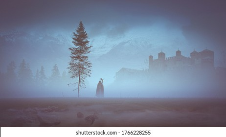 Warlock walking in the mist near an old fir and a little lake with a skeleton a castle in the background in mountains - concept art - 3D rendering
