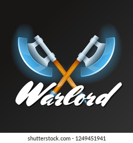 Warlord game element with crossed fantasy axes. Shiny medieval weapon for computer game design. Confrontation versus sign, fight opposition concept, epic battle competition illustration.