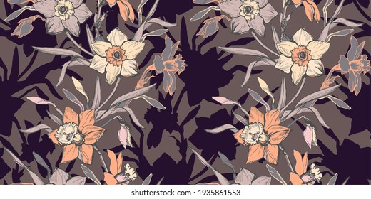 Warm floral seamless pattern with hand drawn flowers daffodils, narcissus. Monochrome floral elements on brown background. Cozy design for textile, fabric, wallpaper, packaging.