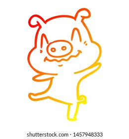 warm gradient line drawing of a cartoon drunk pig