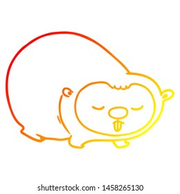 warm gradient line drawing of a cartoon wombat