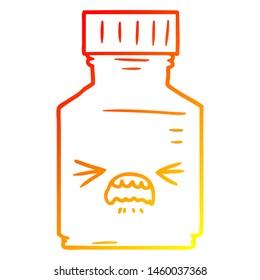 warm gradient line drawing of a cartoon pill jar