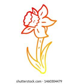 warm gradient line drawing of a cartoon daffodil