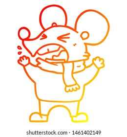 warm gradient line drawing of a cartoon angry mouse