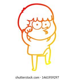 warm gradient line drawing of a cartoon curious boy rubbing eyes in disbelief