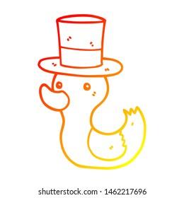warm gradient line drawing of a cartoon duck wearing top hat