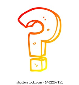 warm gradient line drawing of a cartoon question mark