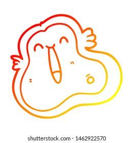 warm gradient line drawing of a cartoon germ