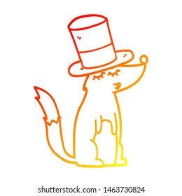 warm gradient line drawing of a cartoon wolf whistling wearing top hat