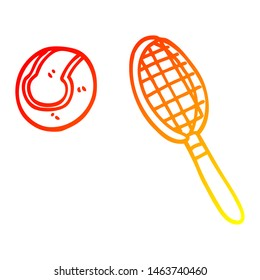 warm gradient line drawing of a cartoon tennis racket and ball