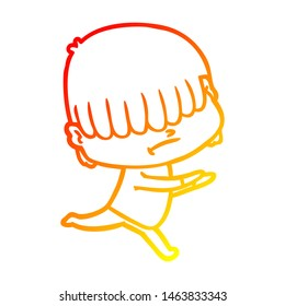 warm gradient line drawing of a cartoon boy with untidy hair