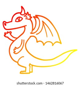 warm gradient line drawing of a cute cartoon dragon
