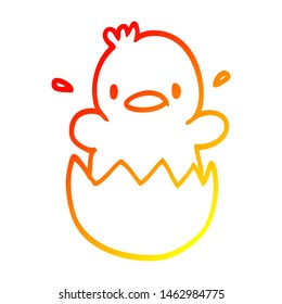 warm gradient line drawing of a cute cartoon chick