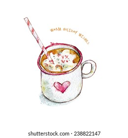 Warm holiday wishes. Cute winter card. Watercolor image of cup of cocoa.