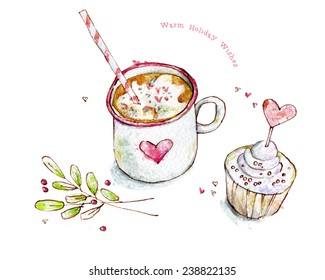 Warm holiday wishes. Watercolor illustration of cup of cocoa, cupcake. Cute winter card.