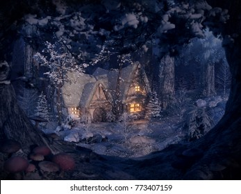 warm hut deep in the winter forest