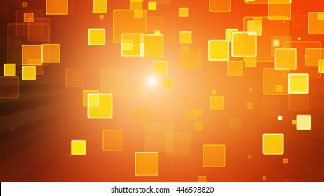Warm orange color motion background with animated squares. Light ray effect