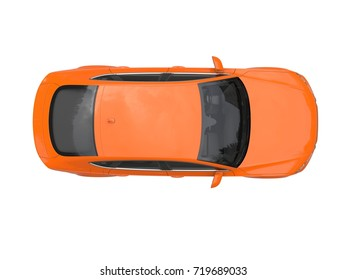 Warm orange modern generic business car - top view - 3D Illustration