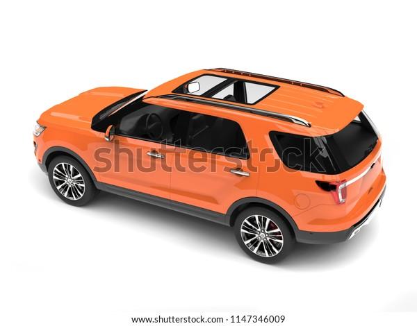 Warm orange modern SUV car - rear side view - 3D Illustration