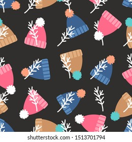 Warm winter hats with pompon seamless pattern. Seamless hat with pompon, illustration