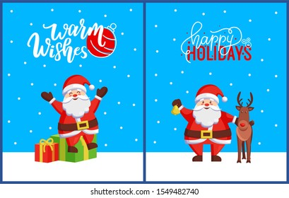 Warm Wishes and Happy Holidays Postcard with Santa. raster fairy tale hero sitting on gift boxes. Jack Frost standing with bell and helper reindeer