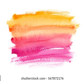 Warm yellow to pink gradient brush strokes painted in watercolor on clean white background
