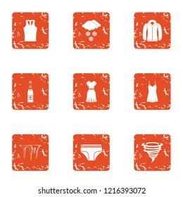 Warmer clothes icons set. Grunge set of 9 warmer clothes icons for web isolated on white background