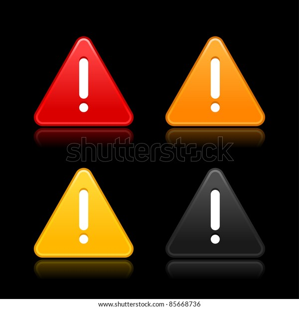 Warning attention sign with exclamation mark web 2.0 button. Triangular shape with shadow on gray background. Bitmap copy my vector ID: 61556407