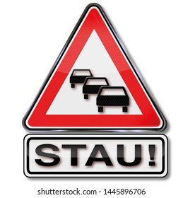 Warning and caution traffic jam, Letters with Stau means traffic jam