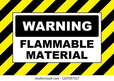 warning flammable material sign placard board