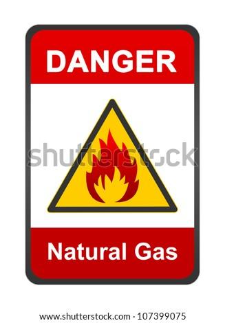 Warning Flammable Sign Danger Natural Gas Stock Illustration