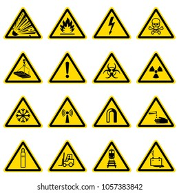 Warning and hazard symbols on yellow triangles collection. Safety and caution, risk alert information illustration