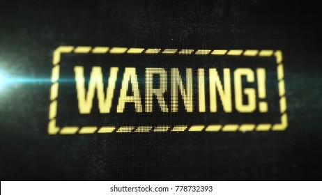 Warning label on LCD monitor. Close up display view with alert message. Operating system error.
