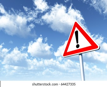 warning roadsign under cloudy blue sky - 3d illustration
