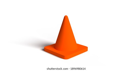 Warning sign. 3D rendered orange traffic cone isolated on white background with copy space