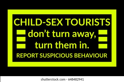 Warning sign about child abuse tourists with shocking yellow on black background