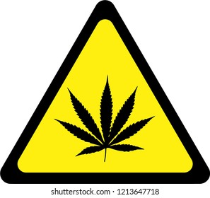 Warning sign with cannabis symbol
