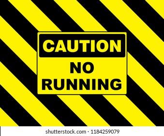 warning sign caution no running board placard sticker