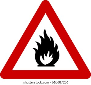 Warning sign with fire symbol