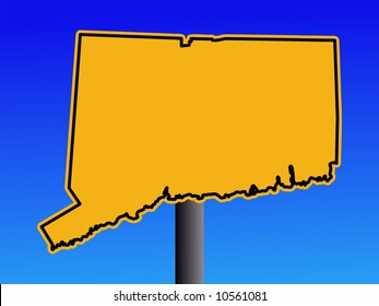 Warning sign in shape of Connecticut on blue illustration JPG