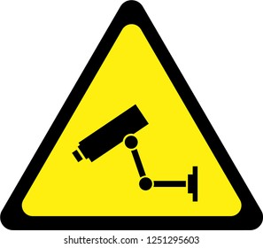 Warning sign with surveillance camera symbol