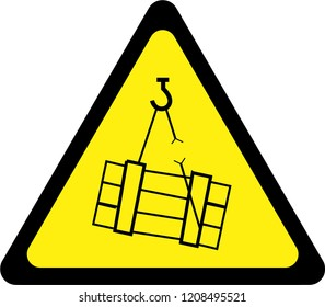 Warning sign with suspended loads symbol
