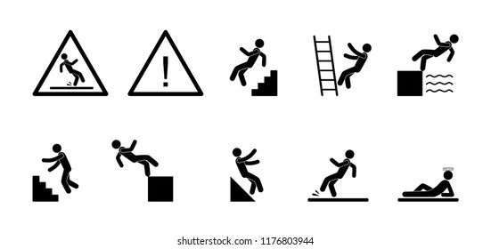 warning signs, set of icons, stick figure people fall, human silhouettes, triangle danger, pictogram man slipped, fall from the ladder and incline plane illustration
